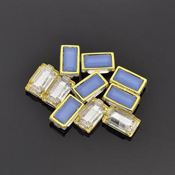 Sew on Taiwan Acrylic, Multi-strand Links, Garment Accessories, Rectangle,Cornflower Blue,Golden,18x8x6mm, Hole: 1mm(X-SA09-5x15-ACG-H15)