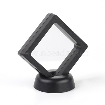 Acrylic Frame Stands, with Transparent Membrane, For Earring, Pendant, Bracelet Jewelry Display, Rhombus, Black, 9.7x9.6x5.7cm(X-EDIS-L002-01-A)
