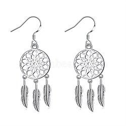 Boucles d'oreilles avec pendentif en laiton, Carillon du vent, argenterie, 56x20mm(EJEW-BB26479)