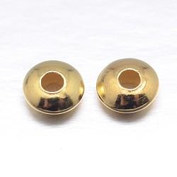vraies perles d'espacement en argent sterling plaqué or plat 18 k, or, 5x2.5 mm, trou: 1.6 mm; environ 190 pcs / 20 g(STER-M101-12-5mm)