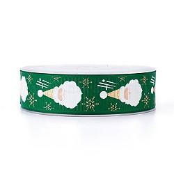 Ruban polyester grosgrain pour Noël, père noël, verte, 25 mm; environ 100 mètres / rouleau(SRIB-P013-B02)