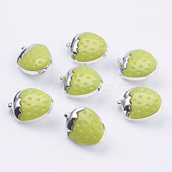 Boutons de fraise à tige en plastique ccb, boutons de couture en plastique pour la conception de costumes, 1-trou, teint, 'Chartreuse , 15x11x3.5mm, Trou: 3x2mm(X-BUTT-E095-07)