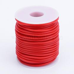 tuyau creux corde en caoutchouc synthétique tubulaire pvc, enroulé autour de plastique blanc bobine, rouge, 2 mm, trou: 1 mm; sur 50 m / rouleau(RCOR-R007-2mm-14)