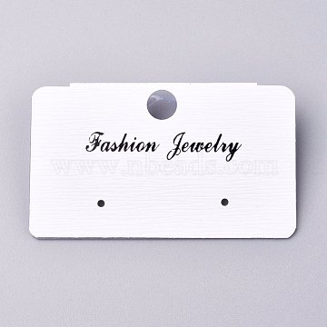 Plastic Jewelry Display Cards, for Hanging Earring Display, Rectangle, White, 30.5x51.5x6mm, Hole: 1.4mm and 6mm, 100sheets/bag(DIY-K032-16A)