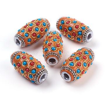 32mm Orange Oval Polymer Clay Beads