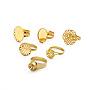 регулируемый латунный кольцевой компонент, филигранные настройки кольца и настройки кольца подушки и настройки кольца сита, cmешанная форма, золотой, внутренний диаметр: 16.5~18 мм; лоток: 9~20x9~20 мм