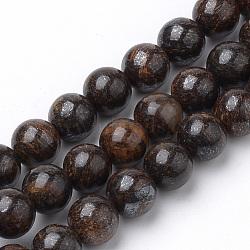 """Chapelets de perles en bronzite naturel, rond, 6mm, trou: 1mm; environ 70 pcs/chapelet, 15.7""""(G-S272-01-6mm)"""
