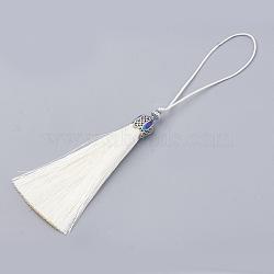 pompon en nylon grandes décorations pendantes, avec les résultats de l'émail et alliage, platine, Floralwhite, 80~84x10.5~11 mm(X-AJEW-N024-29)