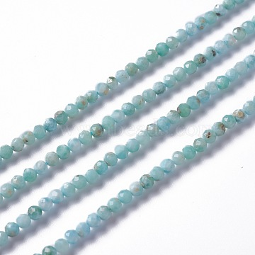 Natural Larimar Beads Strands, Round, Faceted, 3~3.5mm, Hole: 0.3mm; about 122~132pcs/strand, 15.83 inches (40.2cm)(G-A178-B01-3mm)