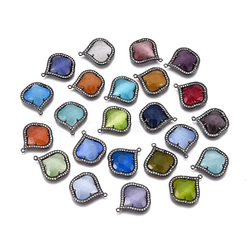 Cat Eye Pendants, with Brass Findings and Cubic Zirconia, Faceted, Mixed Color, 23x20x5mm, Hole: 1.2mm(G-E526-22B-A)