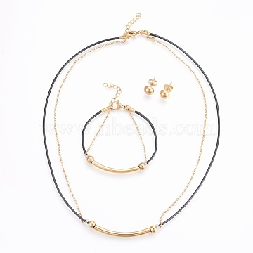 304 Stainless Steel Jewelry Sets, Necklaces, Stud Earrings and Bracelets, with Leather Cord, Black, Golden, 17.7 inches(45cm); 6-3/4 inches(17cm); 8mm; Pin: 0.8mm(SJEW-F186-10G)
