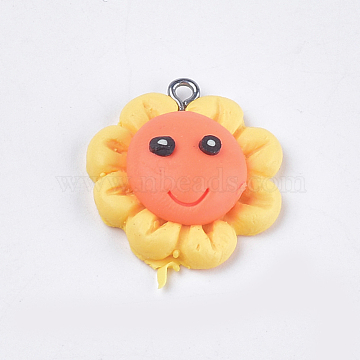 Handmade Polymer Clay Pendants, with Iron Findings, Flower, Platinum, Orange, 26x23.5x8.5mm, Hole: 1.5mm(X-CLAY-S093-07)