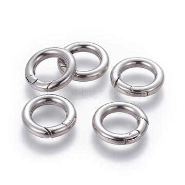 304 Stainless Steel Spring Gate Rings, O Rings, Ring, Stainless Steel Color, 18x3.3mm; Inner Diameter: 11mm(X-STAS-D070-01P)