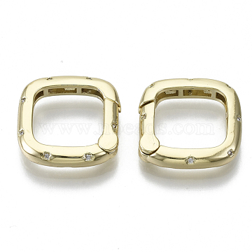 Brass Micro Pave Cubic Zirconia Spring Gate Rings, Nickel Free, Square, Clear, Real 18K Gold Plated, 18.5x18.5x3.5mm; Inner Diameter: 13x13mm(ZIRC-S061-204G-NF)