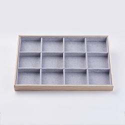 Présentoirs d'ornement en bois cuboïde, recouvert de velours, 12 compartiments, gris clair, 35x24 x3.1 cm(ODIS-K002-01)