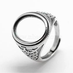 Composants d'anneau à bande large ovale ajustable en argent sterling, argent antique, plateau: 13x18 mm; 18.5 mm(STER-F025-98AS)