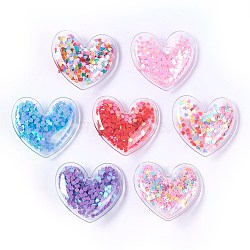 Plastic Alligator Hair Clips, with Paillette & Platinum Plated Iron Base, Heart, Mixed Color, 43x48x12~13mm(X-PHAR-L005-J)