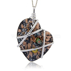 Handmade Foil Glass Big Pendants, Gold Sand and Millefiori, with Platinum Tone Brass Findings, Heart Necklace Big Pendants, Black, 64x44x14mm, Hole: 8x9mm(PALLOY-J355-02A)
