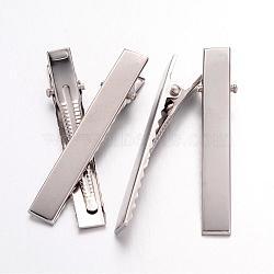 Accessoires de la pince à cheveux d'alligator plat platine ton de fer pour des accessoires de cheveux de DIY faisant, 57x8.5mm(X-IFIN-S286-57mm)