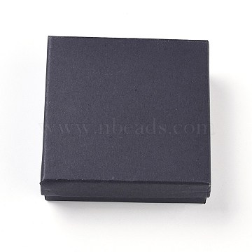Kraft Cotton Filled Cardboard Paper Jewelry Set Boxes, for Jewelry and Gift, Square, Black, 9.1x9.1x2.9cm(CBOX-G015-05)