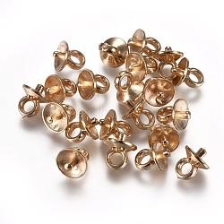 Ccb tasse en plastique perle peg bails broches pendentifs, pour la moitié de perles percées, or clair, 6.5x6mm, trou: 2 mm; broches: 1.4 mm(CCB-L013-02A-LG)