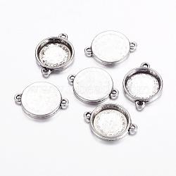 Тибетского стиля разъем кабошон сеттинги, без свинца и без кадмия, античное серебро, длиной около 26 мм , шириной 19 мм , толщиной 3.5 мм , отверстие : 2 мм, лоток : 15 мм(LF11386Y)