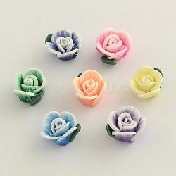 Perles de fleur en pâte polymère manuells, couleur mixte, 12~14x8mm, Trou: 1~2mm(X-CLAY-Q191-M09)