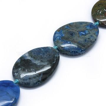 43mm Blue Teardrop Ocean Jasper Beads