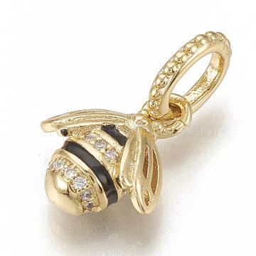 21mm Black Bees Brass+Cubic Zirconia Dangle Beads
