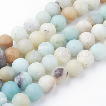 Natural Amazonite Bead Strands, Round, Frosted, 10~10.5mm, Hole: 1.5mm; about 38pcs/strand, 15.3''(39cm)(G-G735-61F-10mm)