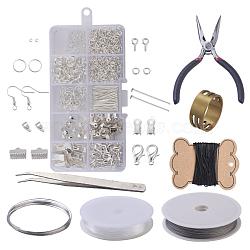 DIY комплекты ювелирных изделий, латуни обжимной шарики и железа выводы, с инструментами, серебристый цвет, 13x6.8x2.1 cm(DIY-X0098-16S)