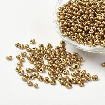 Opaque Glass Seed Beads, Fringe Drop Beads, Goldenrod, 4~5x3mm, Hole: 1mm, about 862pcs/50g(X-SEED-R032-A15)
