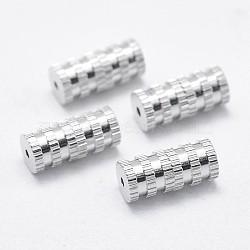 Fermoirs à vis en 925 argent sterling, colonne, platine, 11x5mm, Trou: 0.2mm(STER-E055-05P)
