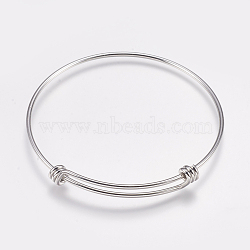 fabrication de bracelet extensible en laiton, bracelets de couple, platine, 2-1 / 2 (63 mm); 1.5 mm(MAK-P008-02P)