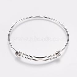 изготовление латунных расширяемых браслетов, браслеты крутящий момент, платина, 2-1 / 2 (63 мм); 1.5 мм(MAK-P008-02P)