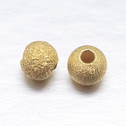 Perles rondes en argent sterling plaqué or véritable, or, 4mm, trou: 1.2 mm; environ 200 pcs / 20 g(STER-M101-01-4mm)