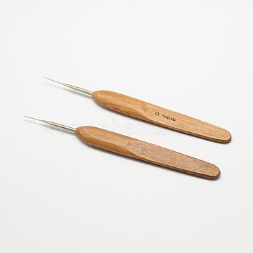 Bamboo Handle Iron Crochet Hook Needles, Peru, Pin: 0.5mm; 133~136x13x7mm(X-TOOL-R034-0.5mm)
