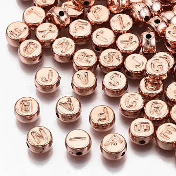 CCB Plastic Beads, Horizontal Hole, Flat Round with Letter A~Z, Rose Gold, 7x4mm, Hole: 1.4mm(X-CCB-N004-002RG)