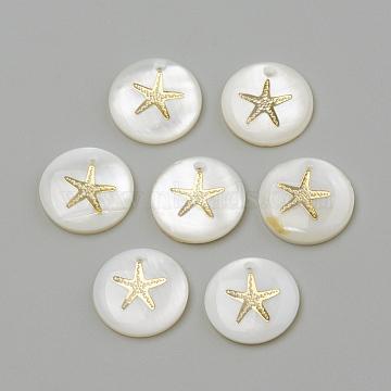 Freshwater Shell Pendants, Flat Round & Starfish/Sea Stars, Golden, 16x3.5~4mm, Hole: 1.2mm(X-SHEL-Q010-001G)