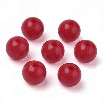 Round Opaque Acrylic Beads, DarkRed, 10mm, Hole: 2mm(X-SACR-R865-10mm-03)