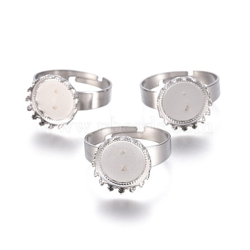 Adjustable 304 Stainless Steel Finger Rings Components, Pad Ring Base Findings, Flat Round, Stainless Steel Color, Tray: 12mm, Size 9, 19mm(X-STAS-E474-50)