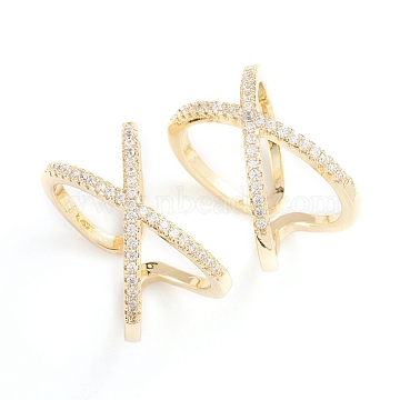 Adjustable Brass Micro Pave Clear Cubic Zirconia Cuff Rings, Open Rings, Criss Cross Rings, Double Rings, X Ring, Long-Lasting Plated, Real 18K Gold Plated, Size 7, Inner Diameter: 17mm(RJEW-F101-17G)