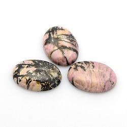 Cabochons en pierre gemme naturelle, ovale, rhodonite, 25x18x5~7mm(X-G-P023-02)