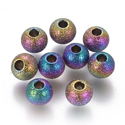 Vacuum Plating 304 Stainless Steel Textured Beads, Round, Rainbow, Multi-color, 6x5mm, Hole: 2mm(STAS-F225-08B-M)
