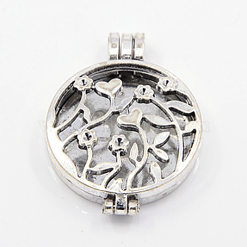 Tibetan Style Diffuser Locket Pendants, Grade A, Lead Free & Nickel Free, Hollow Style, Flat Round and Flower, Antique Silver, 44x33x10mm, Hole: 6x4mm(X-TIBEP-A24737-AS-FF)