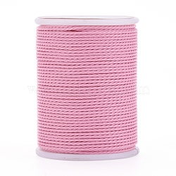 Waxed Polyester Cord, Twisted Cord, Pink, 1mm; about 11m/roll(X-YC-G006-01-1.0mm-05)