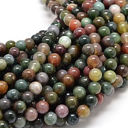 Natural Indian Agate Round Bead Strands, 4mm, Hole: 1mm; about 90pcs/strand, 15.5inches