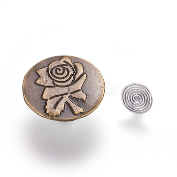Iron Jeans Buttons, Garment Accessories, Flat Round with Rose Pattern, Antique Bronze & Stainless steel Color, 20x7mm, Hole: 1.5mm, Pin: 0.9~2.5mm(X-IFIN-WH0038-01B)