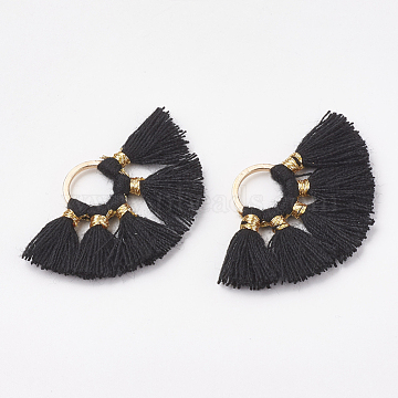 Polycotton(Polyester Cotton) Tassel Pendant Decorations, with Brass Findings and Metallic Cord, Golden, Black, 20~23x30~34x2.5mm, Hole: 7~8mm(X-FIND-S271-01)