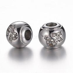 Perles européennes avec strass en 304 acier inoxydable, rondelle, constellation / signe du zodiaque, cristal, Capricorne, 12x10mm, Trou: 4.5mm(STAS-F057-14G)
